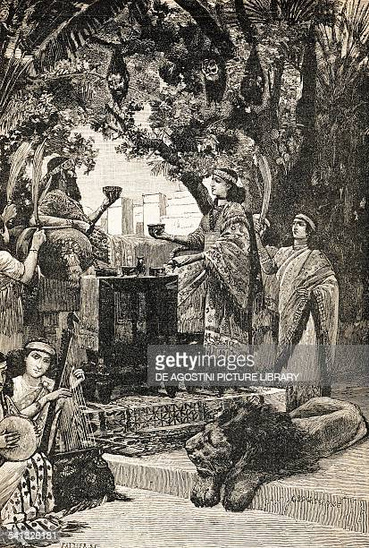 Scene of a banquet offered by the Assyrian king Ashurbanipal illustration for an Italian edition of The first civilizations by Gustave Le Bon Italy...