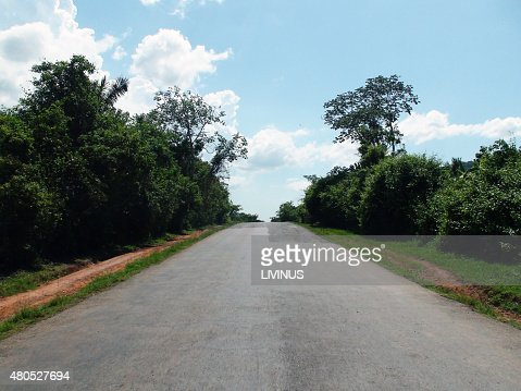 Scene Of An Empty Road While Traveling Around In Cuba : Stock Photo