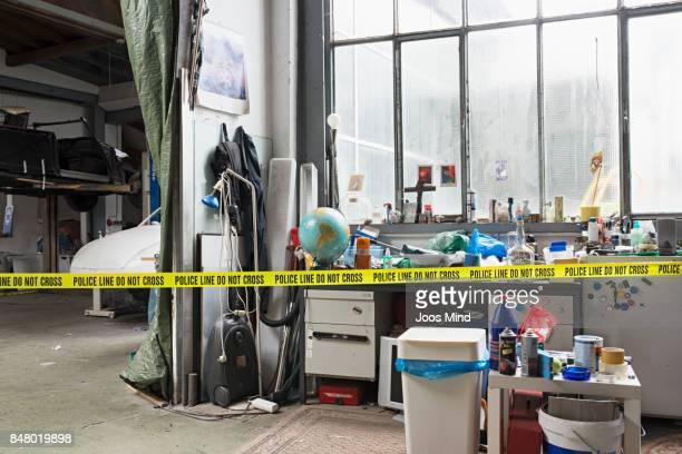 scene of crime at a garage