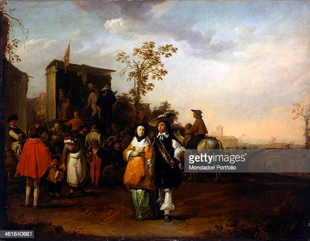 Scene of Dailylife in a village by Matthias Scheits 17th Century oil on canvas 91 x 118 cm Italy Lombardy Milan Castello Sforzesco Civic Collections...