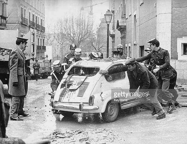 A scene of devastation in Madrid after ETA members assassinated Spanish Prime Minister Luis Carrero Blanco by bombing his car 20th December 1973