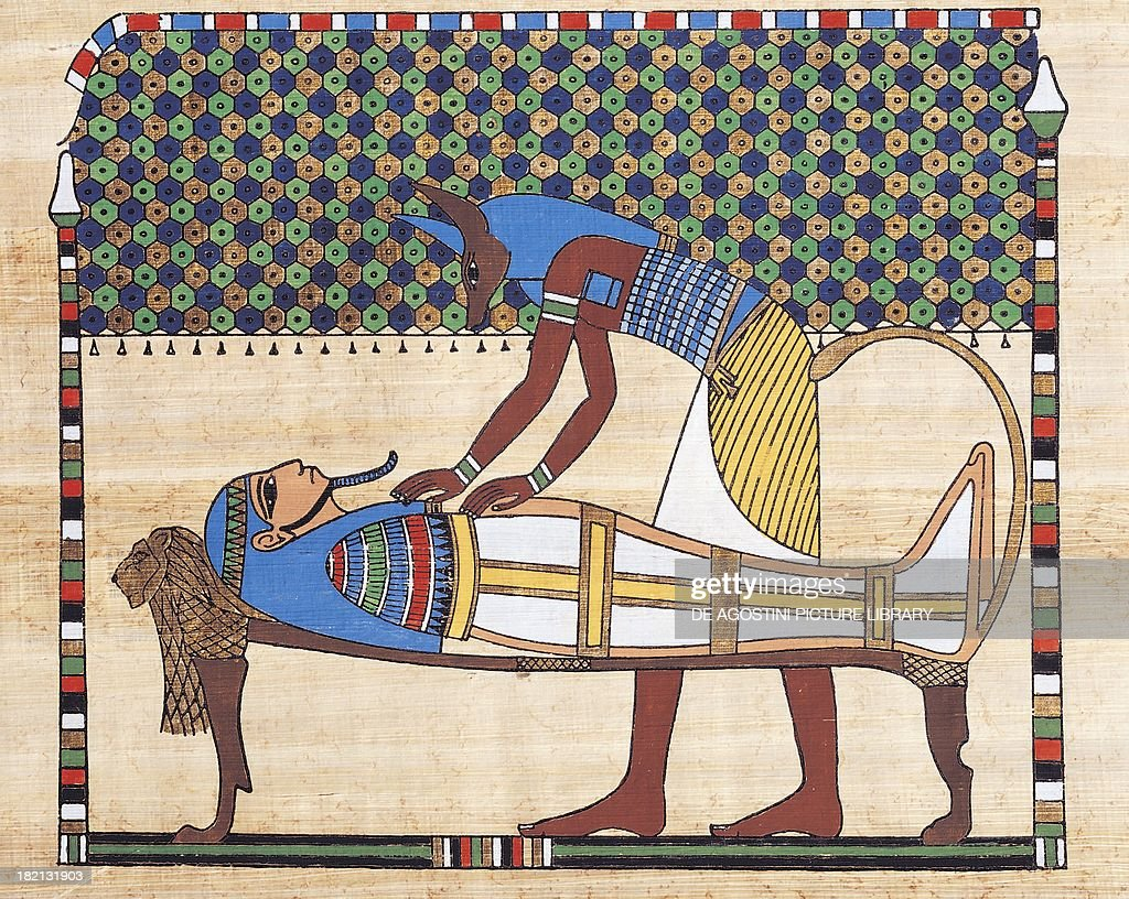 Scene of embalming papyrus reconstruction of a fresco from the Theban tomb of Sennedjem original dating from the Dynasty XIX Egyptian civilisation...