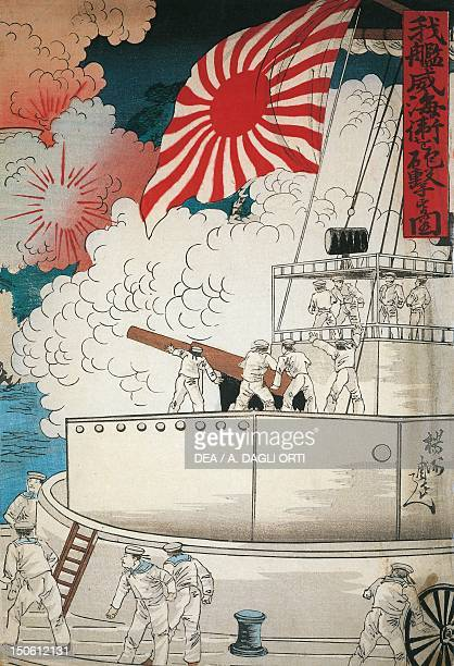 Scene of naval warfare woodcut Japan Japanese Civilisation Taisho period 20th century