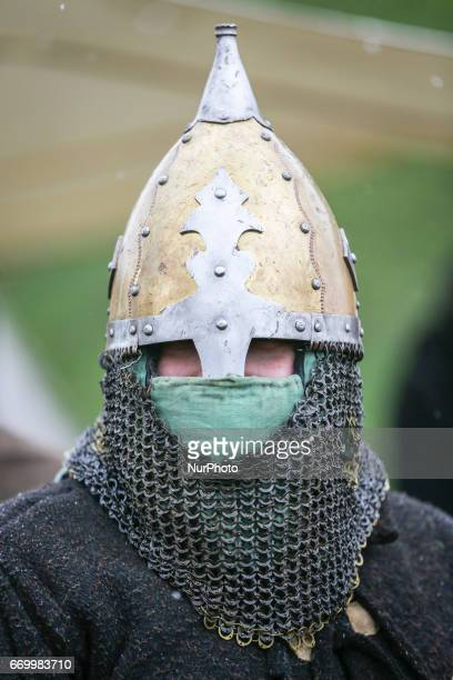 Scene of Rekawka annual traditional festival held on the Krakus Mound in Krakow Poland on 18 April 2017 During this festival many medieval and pagan...