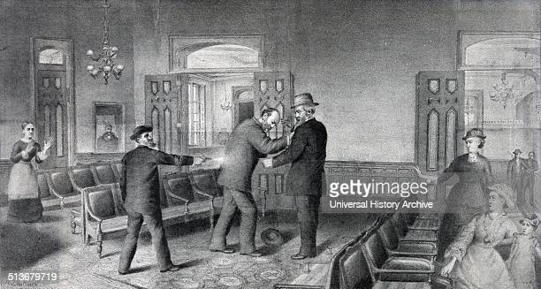 Scene of the assassination of Gen James A Garfield President of the United States During his time in office he reintroduced Presidential authority...