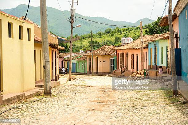 Scene of the colonial village Trinidad in Cuba the town was the eighth founded by Spanish colonizers and nowadays is a UNESCO world heritage site...