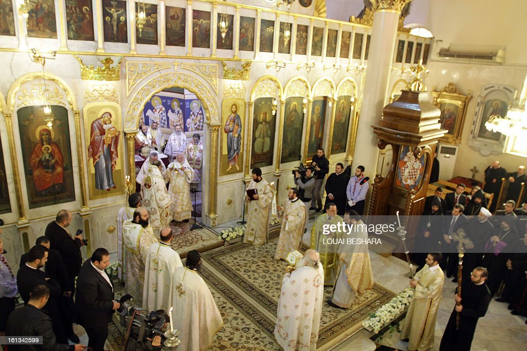 A scene of the enthronement of the Greek Orthodox leader Yuhanna X Yazigi as the Greek Orthodox Patriarch of Antioch and All the East at the Holy Cross Church, in the Qasaa district of Damascus, on February 10, 2013. Yuhanna X Yazigi was chosen as the Patriarch of Antioch and All the East on December 17, replacing Ignatius IV Hazim who died that month. Christians make up about five percent of the population in Syria, where rebels and forces loyal to Syrian President Bashar al-Assad have been locked in a civil war the UN says has killed more than 60,000 people.