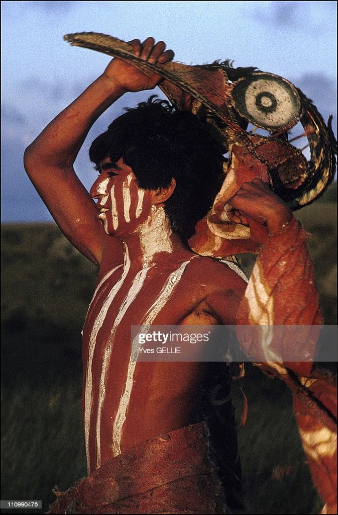 Scene Of The Film Rapa Nui Evocation Of The Island'S History 99% Of The Actors Are Pascuan People Playing Their Own Role The Costumes And The...