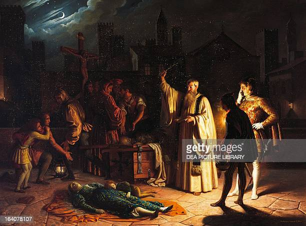 Scene of the plague in Florence in 1348 described by Boccaccio by Baldassarre Calamai oil on canvas 95x126 cm Italy Florence Palazzo Pitti Galleria...