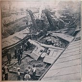 Scene of the Terrible Railway Disaster at Salisbury 1906 The Salisbury rail crash of 1 July 1906 occurred when a London and South Western Railway...