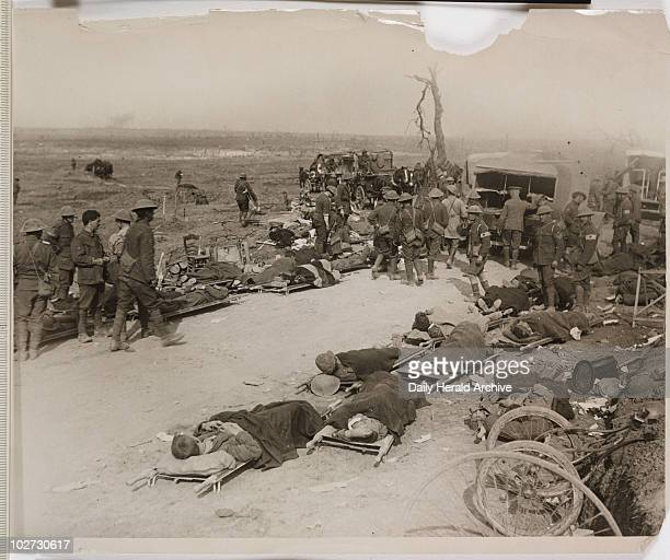 'Scene on the battlefield near Ginchy' France WWI 1916 Scene during the Battle of the Somme in northern France Wounded British soldiers lie on...