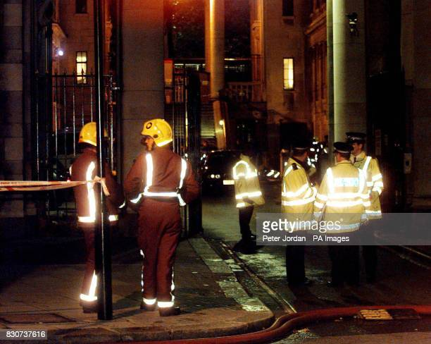 Scene outside Bush House in London after up to 30 BBC employees were decontaminated as a precaution after a suspect package was discovered