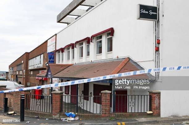 Scene outside the Silver Spoon Nightclub in Wembley North Londonwhere a shooting happened this morning which left at least two men with gun shot...