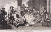 Scene showing Mademoiselle Catherina in the centre apparently providing entertainment due to her small size for a gathering of fashionably dressed...