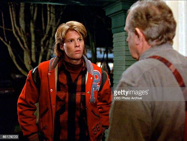 A scene with American actor Gary Hershberger who plays Donna Hayward's boyfriend Mike Nelson speaking with an unidentified character during the pilot...