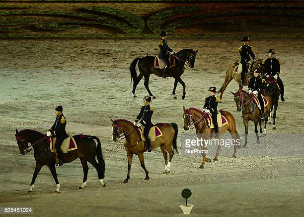 A scene with the horses of Saumur's Cadre Noir that pay a special tribute to the riding master La Gueriniere horsemaninchief to the King and the...