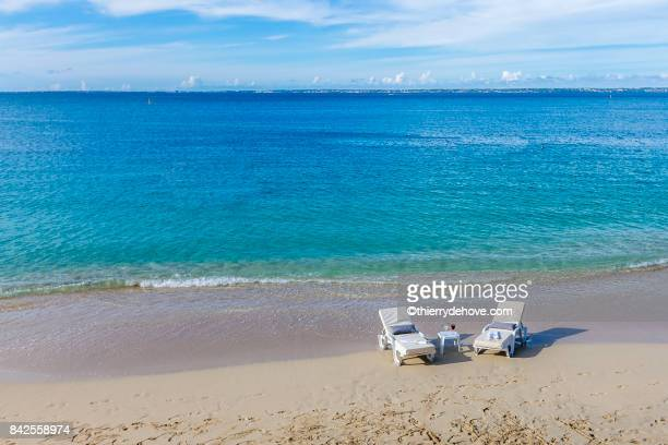 Scenery from Saint Martin's Beach in Caribbean