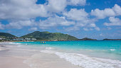 Scenery from Saint Martin's Beach in Caribbean sea