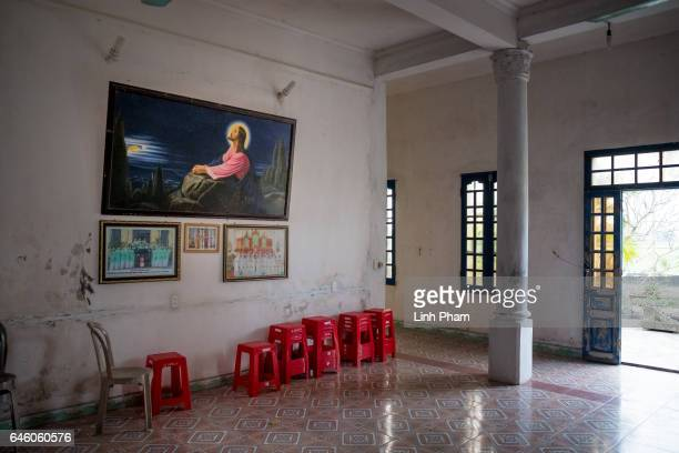 Scenery inside a public room at Phuong Lac church where Doan Thi Huong and her family often go for services on February 27 2017 in Nghia Binh a...