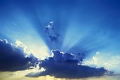 Scenery of the Blue Sky with Clouds, Lens Flare, Low Angle View
