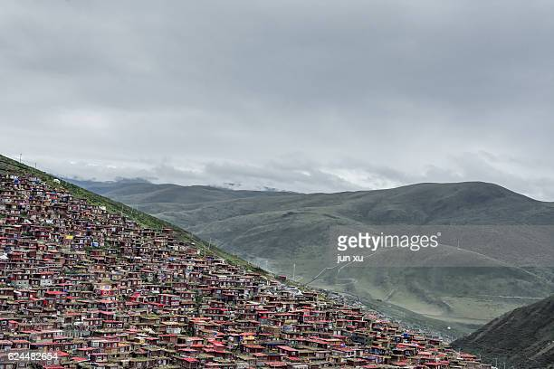 Scenery of the five Ming Buddhist Academy of La Rong Temple, Seda County, Sichuan