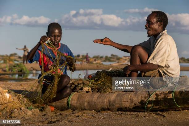 Scenes from Longetch fishing village on the shores of Lake Turkana Kenya the world's largest inland desert lake This region of the lake is a well...