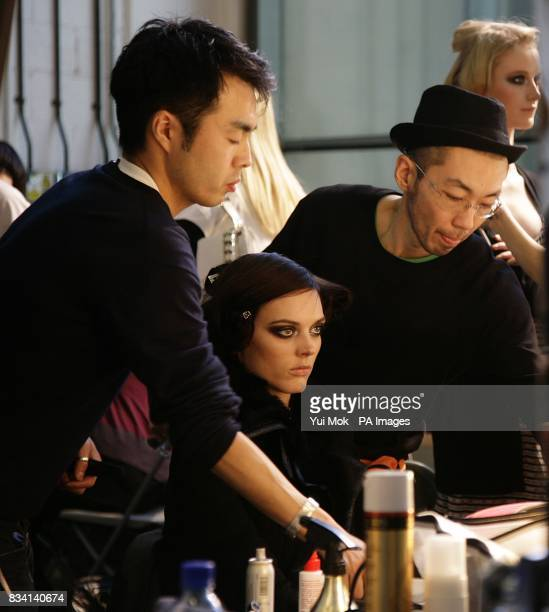 Scenes from the back stage area of the show by designer Ashley Isham during London Fashion Week at the Royal Opera House Bow Street Covent Garden...