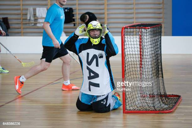 Scenes from the match Niedzwiedze Bydgoszcz versus Floorball Gdansk are seen on 5 March 2017 Floorballk or floor hockey is a sport developed in...