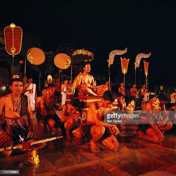 Scenes from the Ramayana played out during a light and sound show at the exquisitely restored Khmer temple of Prasat Hin Phimai in the Northeast of...
