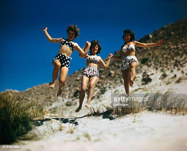 Scenes in the popular resort town Palm Springs California showing swimming pools sun bathing and various scenes