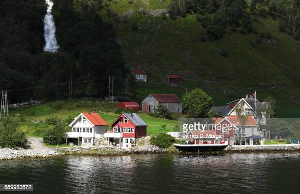 Scenes of houses along the waterside of Norway fjord on February 8th 2017 in Norway