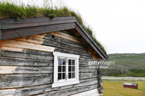 Scenes of houses with grass growing on the roofs in Norwegian fjordlands on February 8th 2017 in Norway
