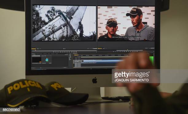 Scenes of the documentary 'The Last Survivor' seen during an interview at the Metropolitan Police headquarters in Medellin Colombia on November 25...