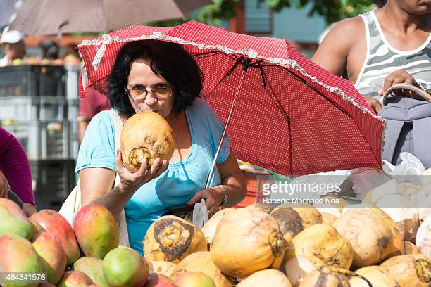 Scenes of the farmer's market or feria held every Sunday in the Sandino area where private small business can sell their products