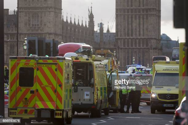 Scenes on Westminster Bridge after four people were killed and 20 injured during a terrorist attack on Westminster Bridge and outside the Houses of...
