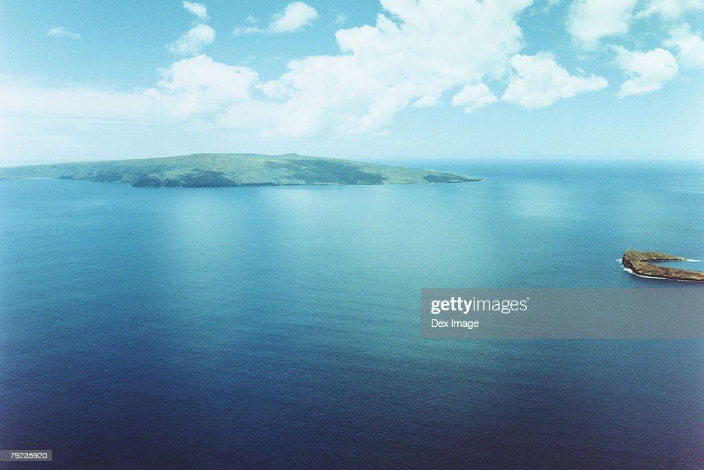 Scenic aerial of Molokini island; Maui, Hawaii : Stock Photo