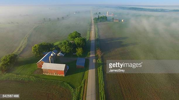 Scenic aerial view of rural Wisconsin on foggy spring morning.