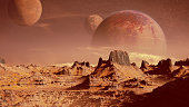 artistic impression of an exoplanet surface scene