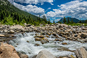 Rocky Mountain National Park, Colorado, USA. The source of a mountainous river. Mountain river and rapids
