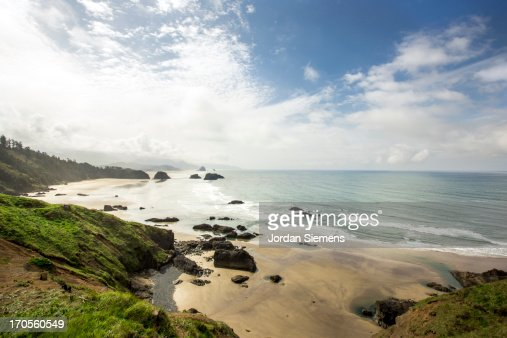 Scenic beach and ocean from viewpoint. : Stock Photo