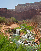 A scenic landscape view of the waterfalls in the Grand Canyon near the Havasu area in the early spring months.