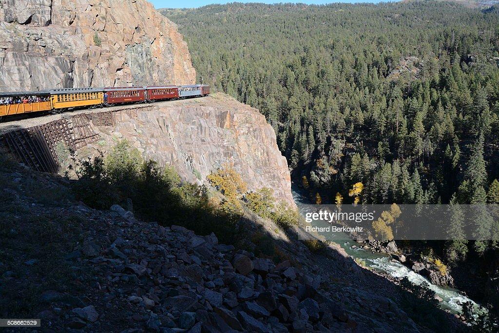 Scenic Durango Silverton Steam Railroad High Above River Gorge