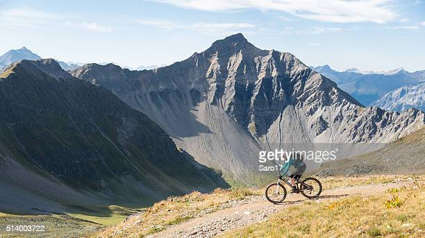 Scenic Graubünden Mountainbiking in the morning, Switzerland