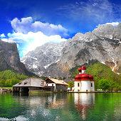 beautiful Alpine scenery - crystal lake Konigsee  with small church
