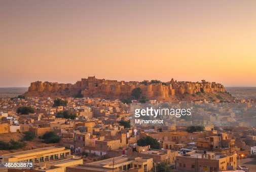 Scenic Jaisalmer Fort with a sunset : Stock Photo