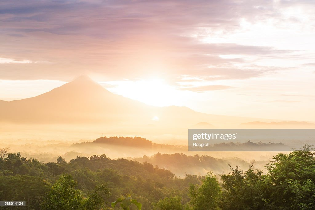 Scenic Java Indonesia Sunrise Behind Mount Merbabu Volcano Landscape
