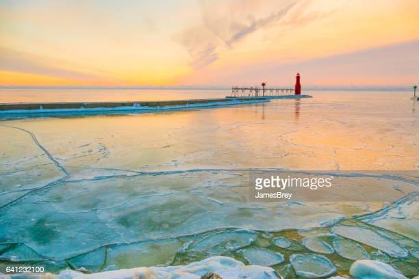 Scenic Lake Michigan Harbor freezing in January