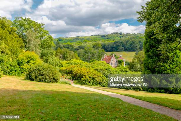 Scenic landscape beauty with view of Scotney Castle ruin, Lamberhurst, Kent, England, UK.