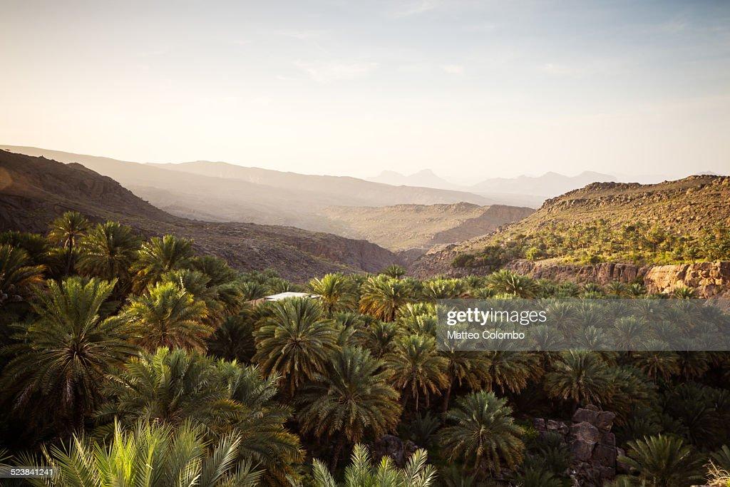 Scenic landscape, Hajar mountains at sunset, Oman