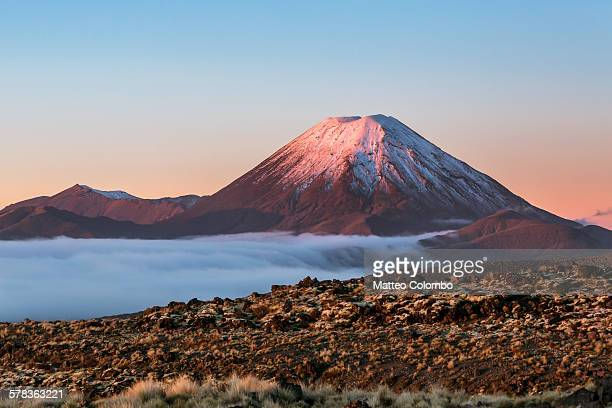 Scenic landscape with Ngauruhoe volcano at sunset